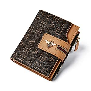 VISHARK Women's Small Brifold Pocket Wallet with Zipper Coin Credit Card Holder (Brown)