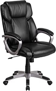 Flash Furniture Mid-Back Black LeatherSoft Executive Swivel Office Chair with Padded Arms
