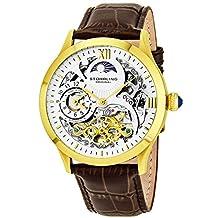 Stuhrling Original Men's 571.3335K2 Classic Winchester Tempest II Automatic Skeleton Dual Time Zone Gold Tone Watch