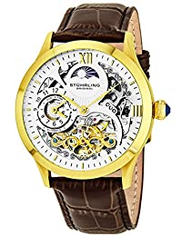 Stuhrling Original Men's 571.3335K2 Classic Winchester Tempest II Automatic Skeleton Dual Time Zone Gold Tone Watch