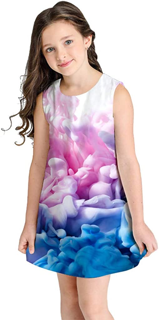 AKIWOS Girls Summer Sleeveless Dress Flower Animal Printing Swing Dress Round Neck for Casual//Party//Holidays 6-10 Years