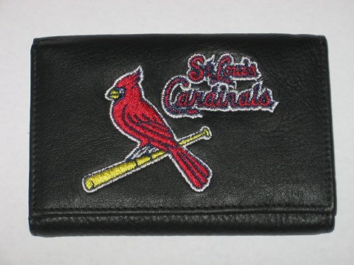 ST. LOUIS CARDINALS Tri-Fold Genuine LEATHER WALLET with Embroidered Team Logo