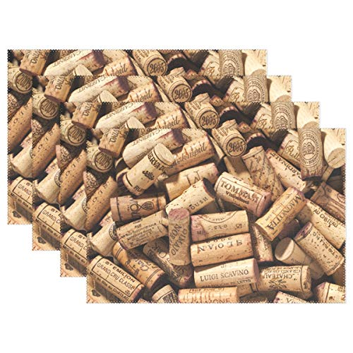YATELI Placemats Wood Wine Corks Pattern 12x18 inch Heat Resistant Set of 6 Non Slip for Dinning Kitchen (Owl Cork Placemat)