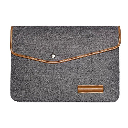 Happy Hours - 13 Inch Portable Eco Felt and PU Leather Trim Waterproof Laptop Notebook Envelope Bag / Premium Handmade Tablet Computer Protective Sleeve Case for MacBook Air, Macbook Pro(Dark - Burch Carry Stores Tory That