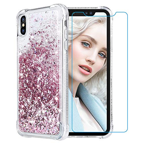 Maxdara Case for iPhone XS Max Glitter Case 6.5 inch [Tempered Glass Screen Protector] Floating Liquid Luxury Sparkle Bling Shockproof Protective Pretty Fashion Cute Girls Women XS Max Case (RoseGold)