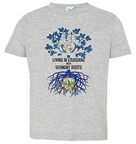 Tenacitee Toddler's Living in Louisiana with Vermont Roots T-Shirt, 3T, Heather Grey (Baton Rouge La Burlington)