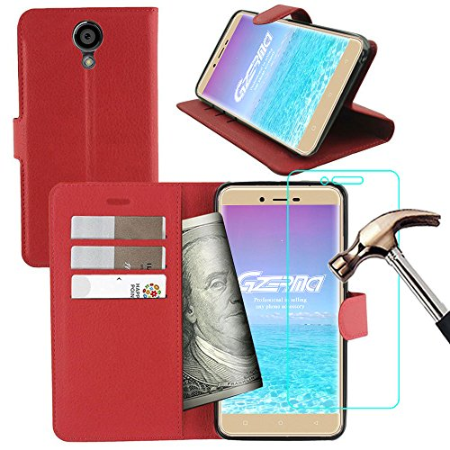 BLU VIVO XL2 Wallet Case with Screen Protector, Gzerma Flip Folio PU Leather Case with Kichstand, Card Slots, TPU Back Cover and [Anti Explosion] [Bubble Free] Protective Film for BLU Vivo XL 2 (Red) -  Guangzhou Erma Trade Co., LTD, SP0542US01-PK01,SP0481US01