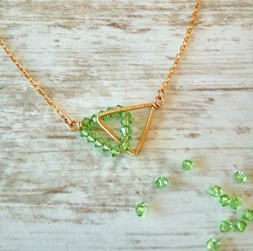 Peridot Swarovski necklace, Conected Triangles, wire wrapped necklace, delicate, special, gift for mom, girl, women jewelry, litleTriangles necklace (Pendant Peridot Triangle)