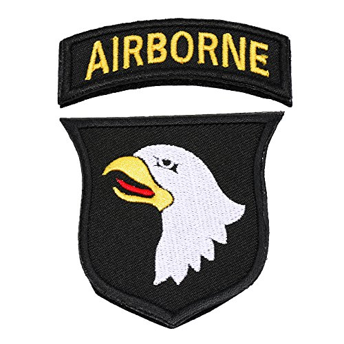 U-Lian 101st Airborne Patch Screaming Eagles Embroidered Applique Badge Sign Costume Paratrooper Shoulder Patch Hook&Loop Fastener Backing Patch(Airborne-Black+White)