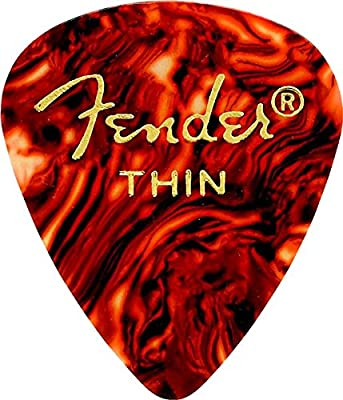 Fender 351 Shape Classic Thin Celluloid Picks, 12 Pack, Shell for electric guitar, acoustic guitar, mandolin, and bass from Fender