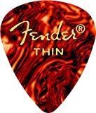 Fender 351 Shape Classic Thin Celluloid Picks, 12 Pack, Shell for electric guitar, acoustic guitar, mandolin, and bass