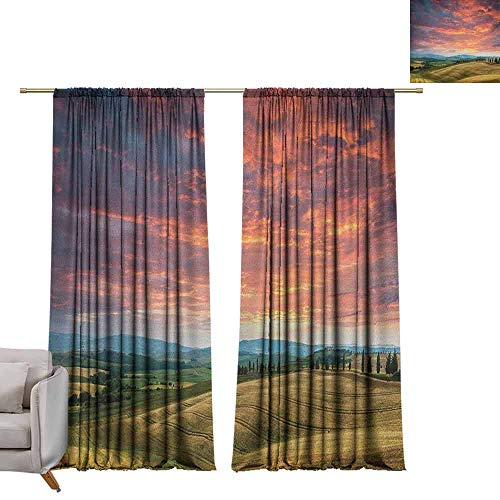 berrly Room Darkening Wide Curtains Tuscany,Tuscany Italy Cypress Trees and Fields Crop Cloudy Sky Holiday Destination, Vermilion Khaki W96 x L108 Thermal Insulating Blackout Curtain
