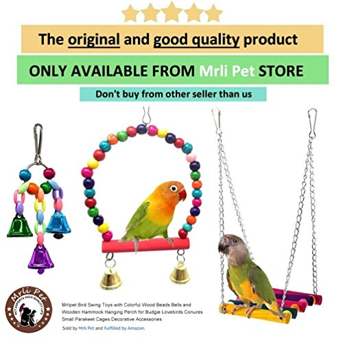 Mrli Pet Parrot Cage Toys, Bird Swing Toys Hanging Play with Bells Wooden Hammock for Budgie Love Birds Cockatiels Conures Finches Small Parakeet