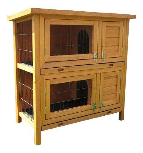 Bunny Business Kleintierkäfig, 2-stöckig, für Kaninchen / Meerschweinchen, mit Ausziehfächern und Abdeckung, 91°cm