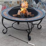Trueshopping Villa Beacon Fire Pit (89 cm) and Coffee Table  (Natural Slate Top) includes  Fire Bowl, BBQ Grill, Spark Guard, Poker and Weather Cover