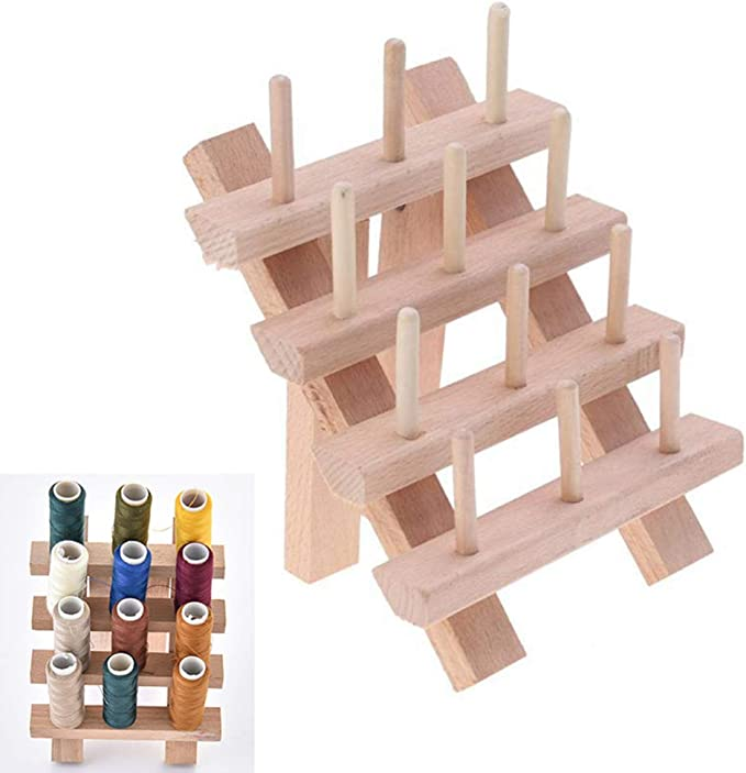 FINEFINDING 1pc 60 Spools Solid Wood Sewing Embroidery Thread Stand Holder Rack Burlywood Sewing Crafts for Sewing and Embroidery Machine 32x40cm