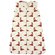 Touched by Nature Baby Infant Organic Cotton Wearable Safe Printed Sleeping Bag, Boho Fox, 0-6 Months