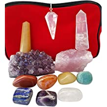 12 piece Chakra Stones Healing/Balancing Kit includes Ebook, Chakra Crystals, Amethyst Cluster, Quartz Pendulum, Raw Rose Quartz, Golden Quartz and Crystal Obelisks. Use for Reiki, Meditation, Rituals