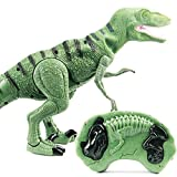 Tomatoa Remote Control Dinosaur Toy Large Walking Moving Model Velociraptor/T-Rex RC Dinosaur Toy w/ Lights Sounds for Boys Girls 3 4 5 6 7 8 9 10 11 12 Years Old (Green)