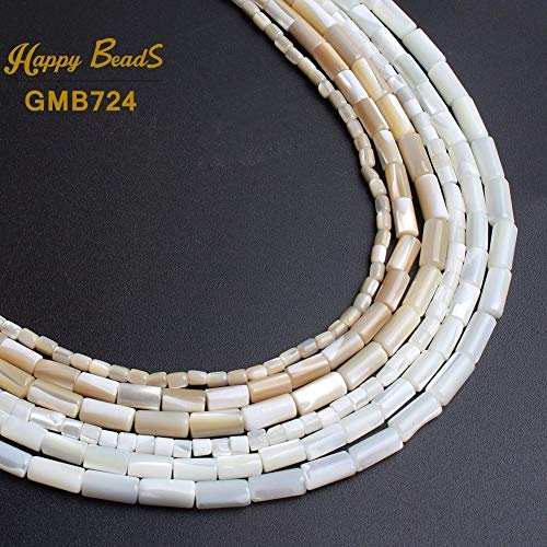 Calvas Natural Round Tube Beads Shell Beads for Jewelry Making 15inches 3.5x3.5mm 4x8mm 6x10mm Women's Bracelet Necklace Jewelry-F01118 - (Item Diameter: 3.5x3.5mm 110-118pcs) (Aerator Shell)