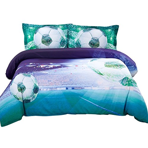 Alicemall 3D Bedding 3D Soccer Stadium and Field Printed Blue and Green Football Duvet Cover Set 4 Pieces Cotton Super Soft Cool Sports Bedding Set, Queen Size Bedding (Queen, Deep Blue) by Alicemall
