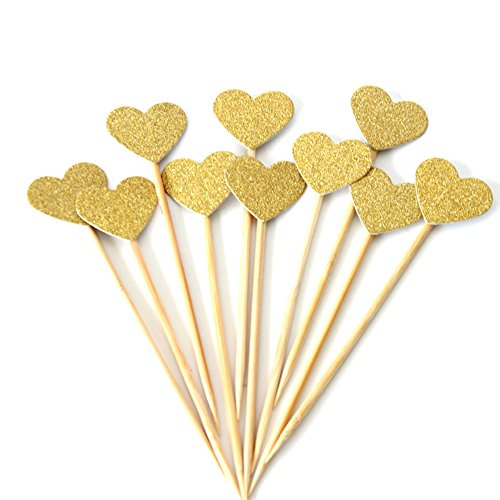 AimtoHome Glitter Heart Cupcake Toppers Gold Party Cupcake Decorations for Birthday | Baby Shower | Wedding | Engagement | Valentines Day | Christmas Party Dessert Decorations Topper, Pack of 50