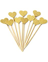 AimtoHome Glitter Gold Heart Cupcake Toppers for Girls Birthday Party Table Decoration, Pack of 50