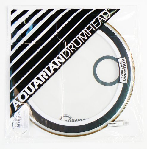 Aquarian Drumheads SKPII22WH Super-Kick II Prepack 22-inch Bass Drum Head, gloss white ()