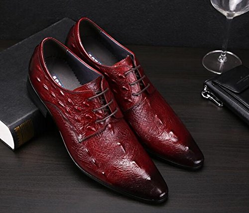 Derby ups Toe Happyshop Red Pointed Crocodile Leather Shoes Wine Shoes Mens TM Winklepickers Lace FttzAqZYwg