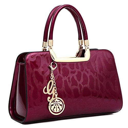HUOBAO Women's Patent Leather Handbags Designer Totes Purses Satchels Handbag Ladies Shoulder Bag Embossed Top Handle Bags (Wine red) -