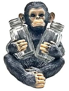 Decorative Chimpanzee Monkey Glass Salt and Pepper Shaker Set with Holder Figurine for Tropical & African Jungle Safari