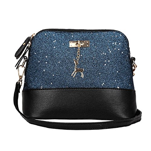 ShenPr Sequin PU Leather Zipper Handbags For Women Crossbody Bag With Sika Deer Accessories (Signature Sling Handbag)