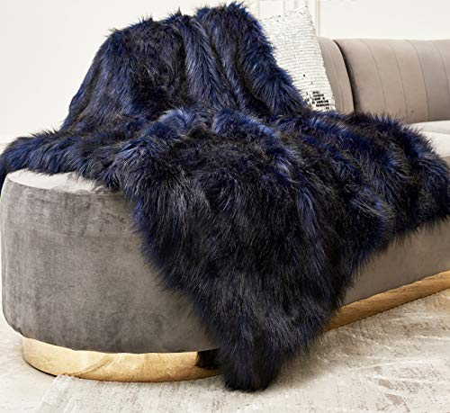 ZIGGUO Luxurious Blue & Black Fuax Fur Throw Blanket, Shaggy & Fluffy Throw Rug, Ultra Soft with Long Pile & Brushed Tips, Plush Fuzzy Blanket for Bed Couch Sofa Chair Home Accent Decoration, 50