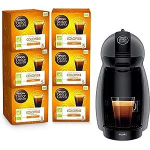 Krups Nescafé Dolce Gusto Piccolo Anthracite et 6 Boites de Café Bio Colombia Cafetière à Dosettes Multiboissons Machine…
