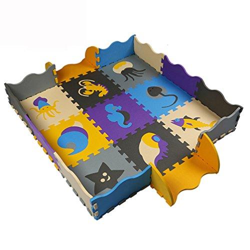 Tianmei Meerestiere Kinder-Foam Spielmatten w/ Zäune Edges Weiches Große EVA-Schaum Jigsaw Puzzle Mats Bodenfliesen