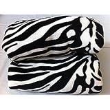 Twin Size Animal Print Fleece Blanket Leopard Zebra Giraffe Soft Plush Microfiber Throw Blankets (White Zebra)