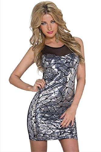 Señoras negro y plata lentejuelas Bodycon vestido Club Wear tamaño UK 8–�?0EU 36–�?8