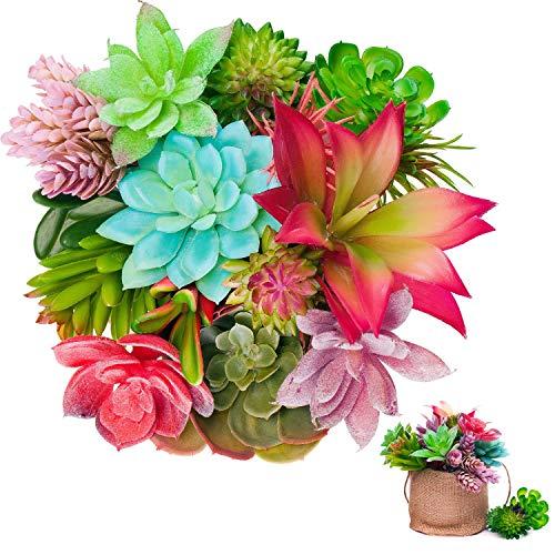 UNQUER Artificial Succulents Unpotted Mini Plants-16PCS for Perfect Mini Greenery Set-Plus Burlap Bag Bonus, Faux Assorted Small Bulk Flowers, Mixed Plastic Fake Realistic Hanging Decoration