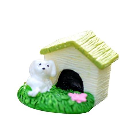 Cupcinu Figura decorativa en miniatura de jardín de hadas con perro (2,2 x
