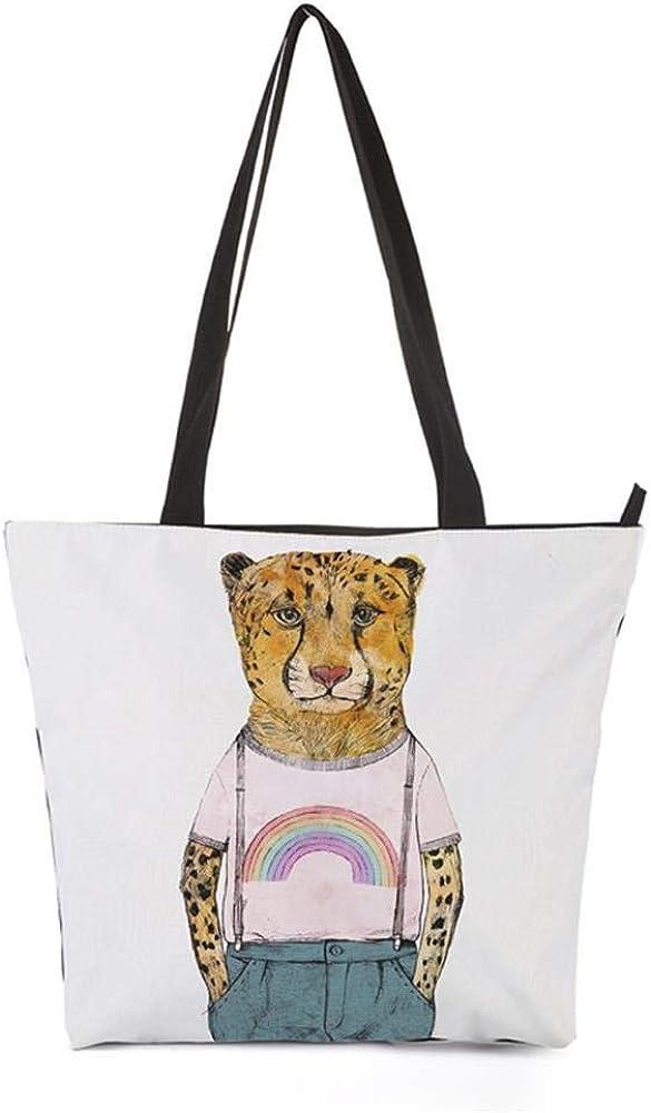 WeoHau 3D Printed Fashion Canvas School Travel Casual Shopping Tote Bag Shoulder Bags Zipper Leopard