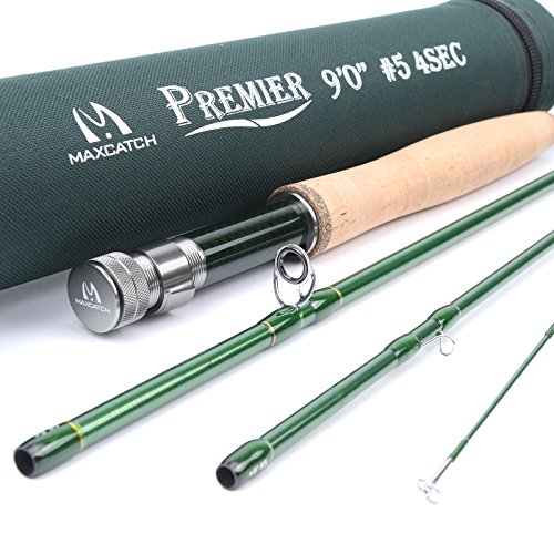 Maxcatch 3-12wt Medium-fast Action Premier Fly Rod-IM8 Carbon Blank for High Performance,with AA Cork Grip Hard Chromed Guides and Cordura Tube (V-Premier, 9' 8wt)