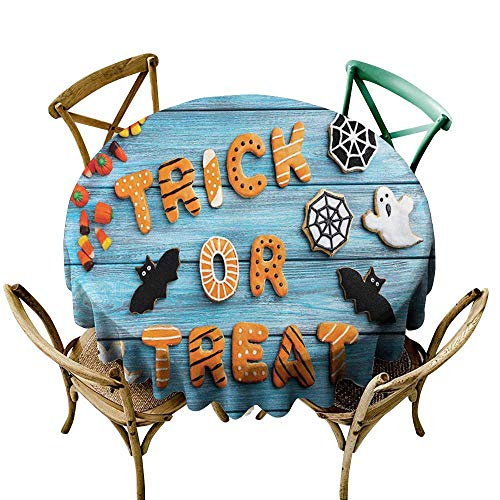 cobeDecor Vintage Halloween Elegance Engineered Tablecloth Trick or Treat Cookie Wooden Table Ghost Bat Web Halloween D70 Blue Amber Multicolor