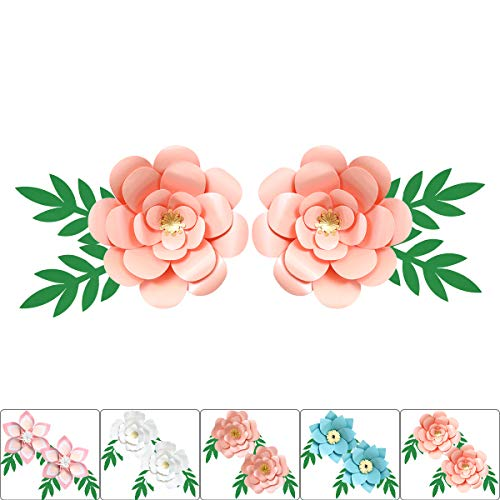 ONE PHOENIX Pearl Cardstock Crafts Handmade Paper Flowers for Baby Room Wall Decor, DIY Birthday Party Decoration, 3D Unicorn Theme Ornament - 12 Inch x 2 with Leaves - Pink Yellow