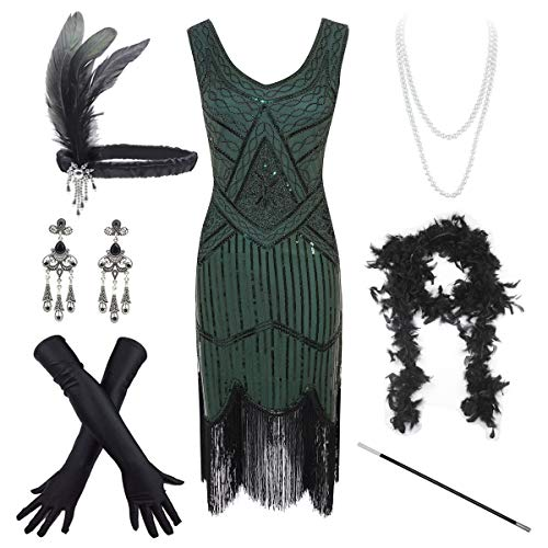 Women's Vintage 1920s Sequin Beaded Tassels Hem Flapper Dress w/Accessories Set (Medium, Green)
