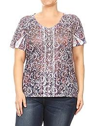 Aki Shop Women Plus Size V Neck Rhinestone Design Short Sleeve Top Tee Blouse 1XL-3XL