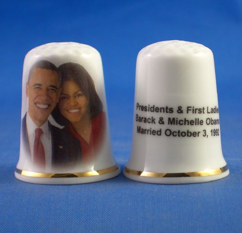 (Porcelain China Collectable Thimble - Presidents & First Ladies , Barack and Michelle Obama -- Free Gift Box)