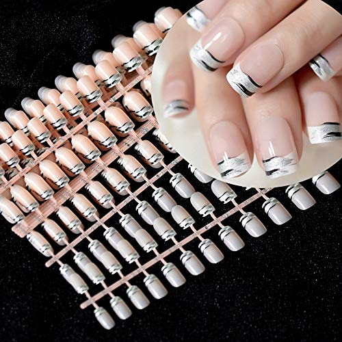 CoolNail 240pcs Silver Glitter Black Zebra Fake Nails Full Cover natural Nude French Press on False Nail Art Wholesale faux ongles -
