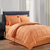 Sweet Home Collection 8 Piece Bag with Dobby Stripe Comforter, Sheet, Bed Skirt, and Sham Set, King, Vine Orange, 8 Piece