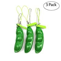 FCBB Fidget Toys 3 Pack Squeeze-a-Bean Edamame Keychain Keyring Extrusion Bean Pea Soybean Stress Relieving Chain Phone Pendants