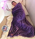 Weighted Blanket by Creature Commforts for teens, adults - Sleep better - Great for ADHD, Autism, PTSD, Insomnia Removable minky cover, organic insert - made in USA Extra Large 15 lbs 40 x 60 - Purple
